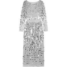 ALEXACHUNG Paillette-embellished Swiss-dot tulle midi dress featuring polyvore, women's fashion, clothing, dresses, silver, alexa chung, cocktail dress, embellished cocktail dresses, grey dress, sequin midi dress, sheer sequin dress and grey midi dress