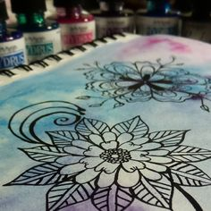 """I love the vibrancy of these watercolors/inks. Working on my lines. No pens tonight!  #workinprogress #sketch_daily #artofdrawingg #instartpics #instapics…"""