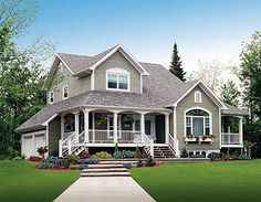 Three Charming Porches - 2141DR | Country, Farmhouse, Canadian, Metric, Narrow Lot, Photo Gallery, 2nd Floor Master Suite, CAD Available, Den-Office-Library-Study, Loft, PDF, Corner Lot | Architectural Designs