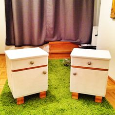 Refurbished those nice nightstands i found on the attic at my late granmothers place Nightstands, Hope Chest, Attic, Storage Chest, Diy Projects, Cabinet, Nice, Furniture, Home Decor