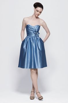 Satin Strapless Pleated Bodice Knee-Length Bridesmaid Dress
