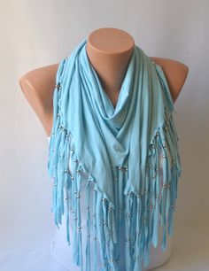 cotton jersey metal beaded tringle scarf / shawl winter by bstyle, $20.00