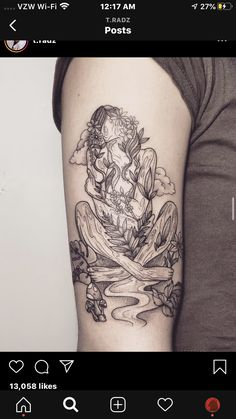 Hippie Girl Tattoos, Hippie Tattoo, Mother Earth Tattoo, Mother Tattoos, Small Nature Tattoo, Nature Tattoos, Leg Tattoos, Body Art Tattoos, Virgo Tattoos