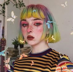 Butterfly BB looking ethereal in a pastel rainbow of our Citrine + Petal Pink + Beetle Green + Iris Purple Tumblr Outfits, Grunge Outfits, Hairstyles With Bangs, Pretty Hairstyles, Pixie Hairstyles, Short Haircuts, Hairstyle Ideas, Hair Inspo, Hair Inspiration
