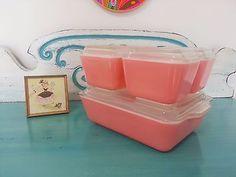 COMPLETE Pink Pyrex Refrigerator Dishes With Older 1940's Lids Vintage Kitchen Vintage Pyrex, Vintage Glassware, Vintage Kitchen, Vintage Pink, Pink Pyrex, Pink Dishes, Pink Things, Pink Houses, Kitchen Things