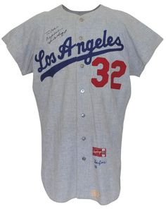 1966 Sandy Koufax Los Angeles Dodgers Game-Used   Autographed Road Flannel  Jersey 230b08c50