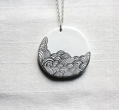 Necklace Pendant Clay. Necklace with pendant, hand-decorated black and white.