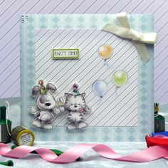 Card made using Smudge & Mitten Luxury Card Collection by Hunkydory Crafts http://www.hunkydorycrafts.co.uk/acatalog/Smudge--Mitten-Luxury-Card-Collection-with-FREE-Colour-Me!-Papercrafting-Kit-SMR101.html#SID=334