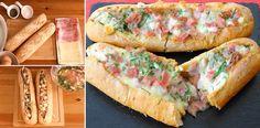 Una idea brillante! Los preparé Baguette relleno al horno By Dulces y salados! | Receitas Soberanas Baguette Relleno, Comida Latina, Canapes, Tapas, Sushi, Sandwiches, Pizza, Paninis, Quesadillas