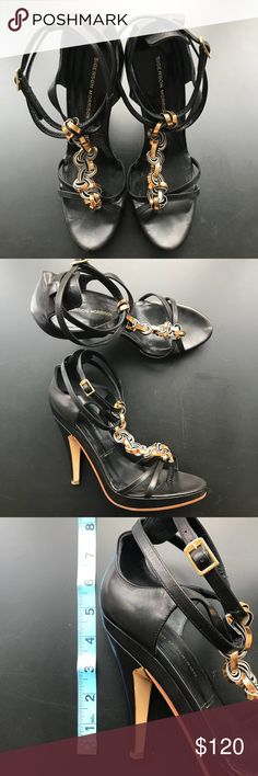 b0b9a323d509a0 Sigerson Morrison high heel sandal Black high heel sandal with gold braid.  Wear with jeans