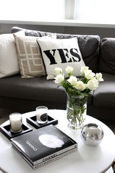Coffee Table Decor | Home Via Laura-love the flowers. Could do white roses, or orchids, calla lillies