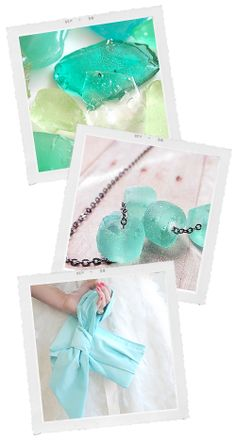 Candy Sea Glass, Icy Necklace and Aqua Bridal Clutch - beach #wedding inspiration