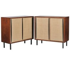 Pair of French 1960s Limed Oak and Raffia Cabinets - Decorative Collective