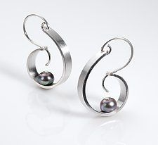 Silver & Pearl Earrings by Martha Seely  Pearl riveted to silver strip.