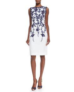 B327B Carolina Herrera Sleeveless Floral-Print Sheath Dress, Navy/Ivory