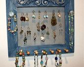 Blue Earring Holder to Organize Jewelry.
