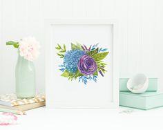 Purple rose, hydrangea watercolor printable art