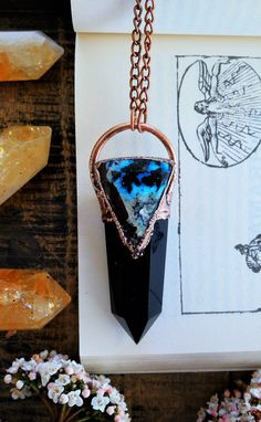 Coral /& polished black obsidian crystal stone copper electroformed crystal pendant necklace jewellery