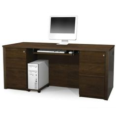 Prestige + Executive Desk Kit With Pedestals In Chocolate by BESTAR. $1399.00. Prestige + Executive Desk Kit with Pedestals in Chocolate Includes executive desk, two assembled pedestals, one keyboard shelf and a CPU platform.. Save 23% Off!