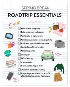 Spring Break    The Road Trip Essentials for traveling with kids by car! Happy travels!