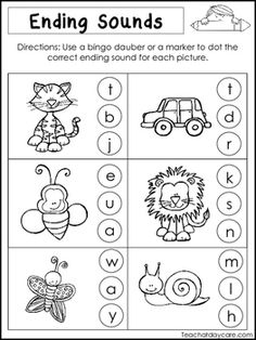 10 Ending Sounds Worksheets. Preschool and Kindergarten Literacy Worksheets. Kids Math Worksheets, Alphabet Worksheets, Printable Worksheets, Vowel Worksheets, Alphabet Activities, Jolly Phonics, Teaching Phonics, Preschool Phonics, Free Preschool