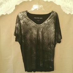 Black &silver metallic blouse Preloved / in excellent condition Calvin Klein Tops Blouses