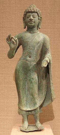 Standing Buddha Mon-Dvaravati period C. Gautama Buddha, Buddha Buddhism, Buddha Art, Standing Buddha Statue, Art Thai, Asian Sculptures, Religion, Buddhist Philosophy, Statues