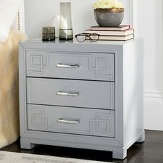 The contemporary Safavieh Raina 3 Drawer Greek Key Nightstand boasts a timeless, raised Greek key pattern on its drawer fronts. Malm Hack, Hack Ikea, Table Ikea, 3 Drawer Nightstand, Nightstands, Dressers, Shops, Kura Bed, Ikea Hackers