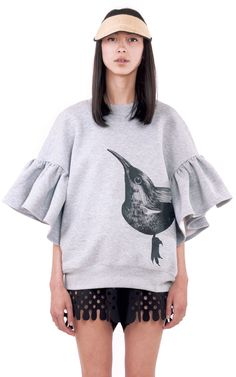 Ioana Ciolacu Daisy Grey Sweatshirt is a loose cropped fleece sweatshirt with a placement screen printed front and back graphic and ruffle sleeves. Tan Shoes, Grey Sweatshirt, Ruffle Sleeve, Wide Leg Pants, Daily Fashion, Ready To Wear, Bell Sleeve Top, Women Wear, Shirt Dress