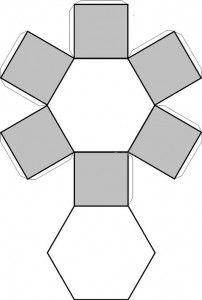 Prisma hexagonal, recortable figuras geometricas bidimensionales