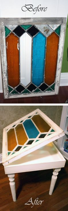 Transformation d'une fenêtre à vitraux en table basse - old stained glass windows into a side tables.