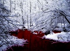 Shining crimson flowed in the river, so alive against the whiteness of the snow.
