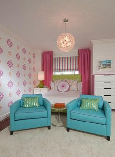 Enchanting Room Ideas for Teenage Girls: Amusing Chat Room Decorating Ideas For Teenage Girls Idea With Twin Blue Sofa Chairs And Pink Curtains Design ~ articature.com Bedroom Design Inspiration