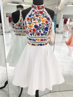 Charming High Neck Halter Embroidery White Short Prom Dress Homecoming Dresses Party Gowns · Starry Girl Dress · Online Store Powered by Storenvy Dama Dresses, Quince Dresses, 15 Dresses, Pretty Dresses, Short Dresses, Fashion Dresses, Banquet Dresses, Casual Dresses, Elegant Dresses