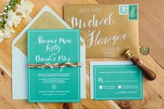 #kraft and aqua wedding invites by Southern Fried Paper - http://saraandrocky.com/ - view more http://ruffledblog.com/st-patricks-day-wedding-ideas/