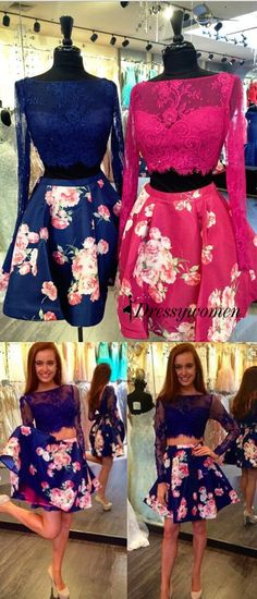 2016 prom dresses, short prom dresses, floral printed prom dresses, long sleeves prom dresses