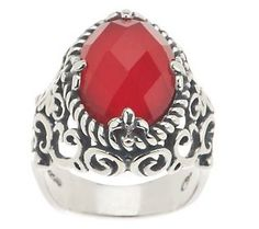 Carolyn Pollack Red Coral Doublet Sterling Ring #Pantone #PoppyRed #SpringStyle