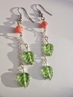 Qing's joy of creation: earrings, green leaves,