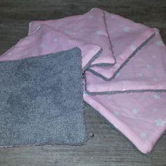 Lot de 6 lingettes démaquillantes lavables en tissu 100% coton doublée éponge