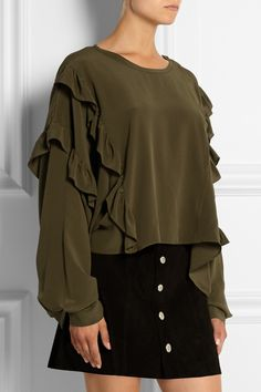 Womens Ruffle Silk Crêpe De Chine Blouse Faith Connexion Buy Cheap Top Quality With Credit Card Cheap Online Popular For Sale gGL1W82I
