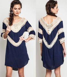 Crochet Knit Tunic Dress Navy Trendy Boho Slouchy Bohemian Clothing Hippie Small #UrbanPeopleClothing #Tunic #Casual