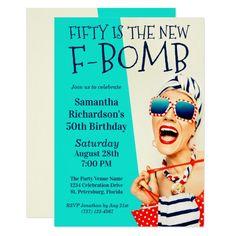 Funny Retro 50th Birthday F-Bomb Invitation 50th Birthday Party Invitations, 60th Birthday, Birthday Ideas, Unicorn Birthday, Birthday Celebration, Birthday Cards, Birthday Parties, Happy Birthday, Polka Dot Bags
