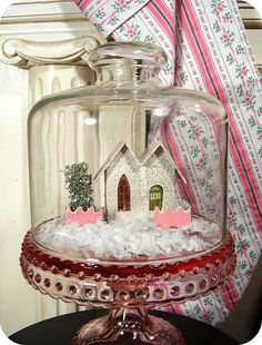 Putz house in a bell jar
