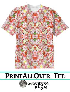 K-196 Abstract Pink Flowers T-Shirt Cotton T-shirt by #Gravityx9 #PAOM  #PrintAllOverMe - #abstractedness #pink #alloverprintshirt #alloverprinted
