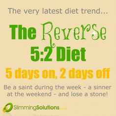 The latest diet trend - reverse 5:2 fasting! Instructions and meal plan available on our blog: http://wp.me/p2BSLY-1ow (diet, fasting, weight loss, lose weight, meal plan, low calorie, meal replacement)