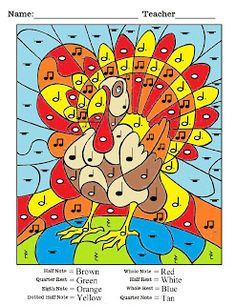 Turkey Color by Note - from DYI Music Room