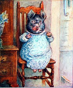 From The Tale of Little Pig Robinson; by Beatrix Potter. I have never seen this image or heard of Little Pig Robinson, have you? Beatrix Potter Illustrations, Vintage Illustrations, Beatrice Potter, Peter Rabbit And Friends, Pig Drawing, Benjamin Bunny, Pig Art, Children's Book Illustration, Woodland Illustration