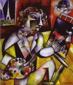 "Marc Chagall - ""Self-Portrait with Seven Fingers"". 1913 year"