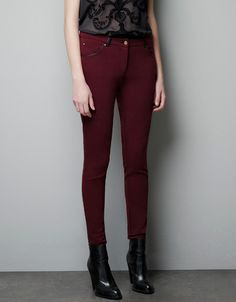 Burgundy Trousers with Faux Leather Piping