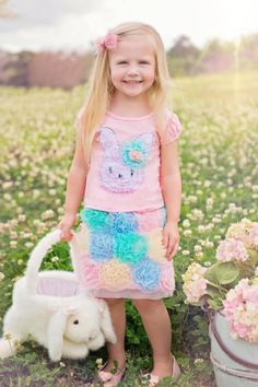 Pastel Puffy Bunny Tee & Skort<BR>Now in Stock